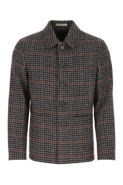 Embroidered wool blend blazer