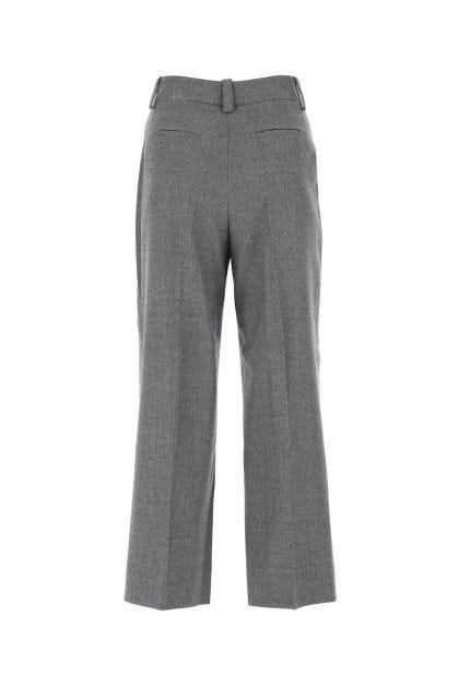 Melange grey stretch wool blend Petra wide leg capri pant