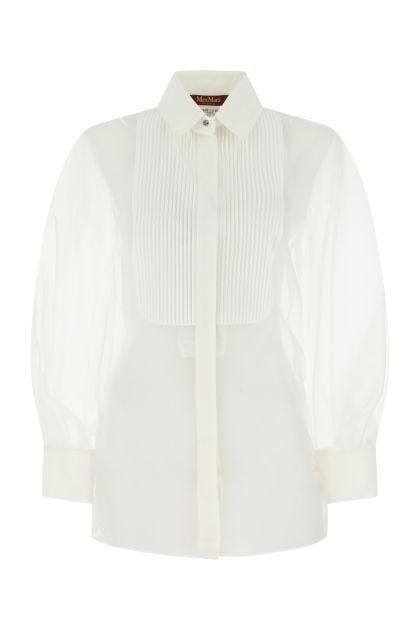 White silk Avon shirt