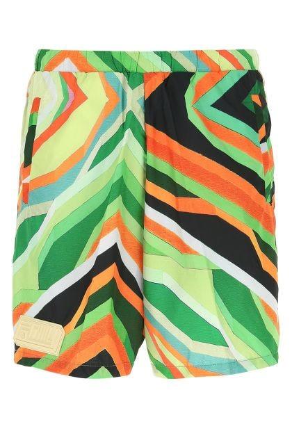 Printed polyester Gea bermuda shorts
