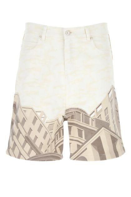Printed stretch denim Le Belle Città Bermuda shorts