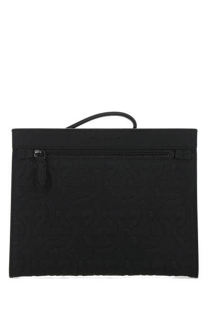 Black leather Brooklyn clutch