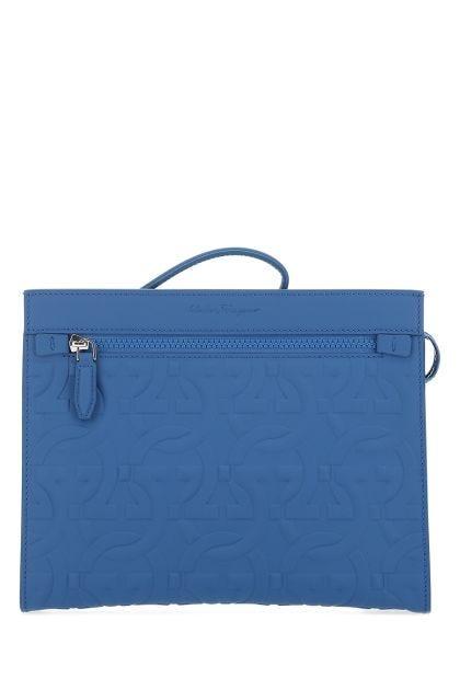 Light blue leather Brooklyn clutch