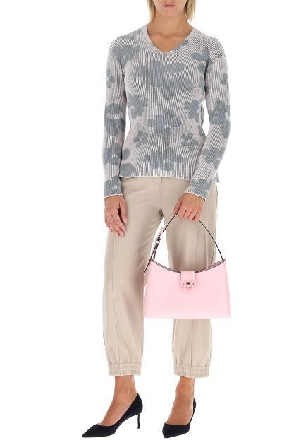 Pink leather Trifolio S shoulder bag