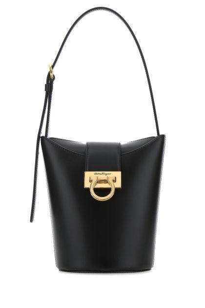 Black leather Trifolio bucket bag