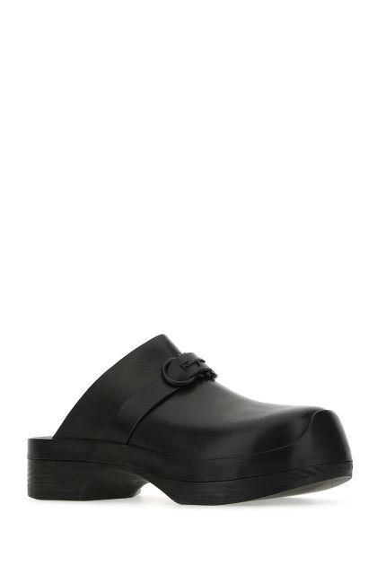 Black leather Nope mules