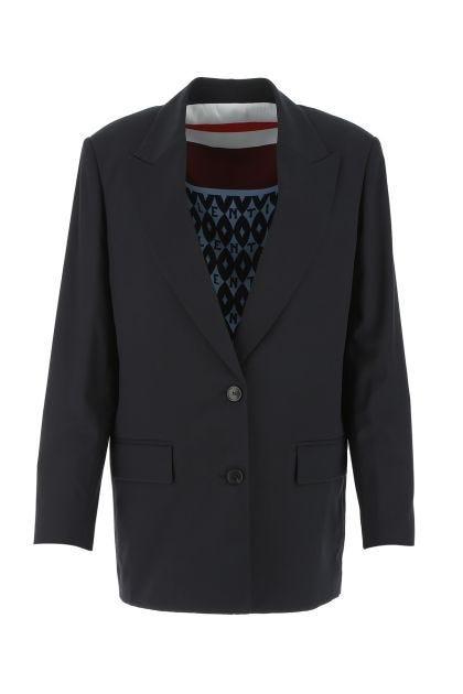 Midnight blue stretch polyester blend oversize jacket
