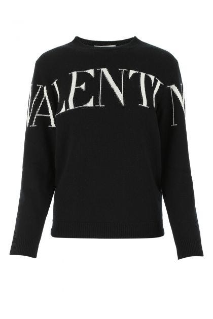 Black cashmere and wool sweater