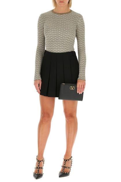 Black wool blend mini skirt