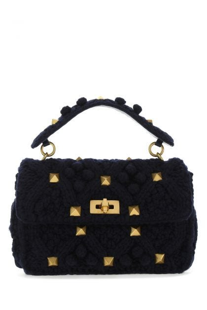 Midnight blue cashmere large Roman Stud handbag