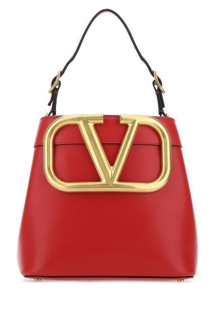 Red leather Supervee bucket bag