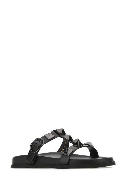 Black leather Roman Stud slippers