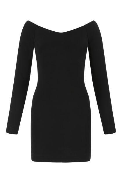 Black stretch wool blend mini dress