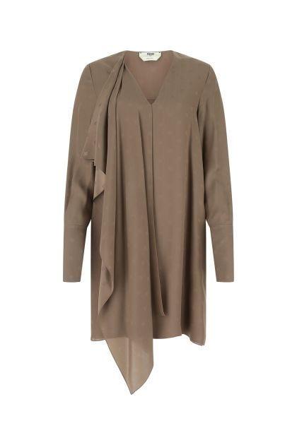 Brown silk dress