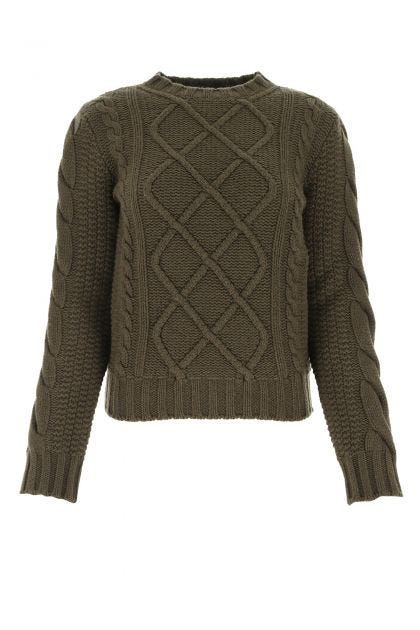 Army green wool blend Omega sweater