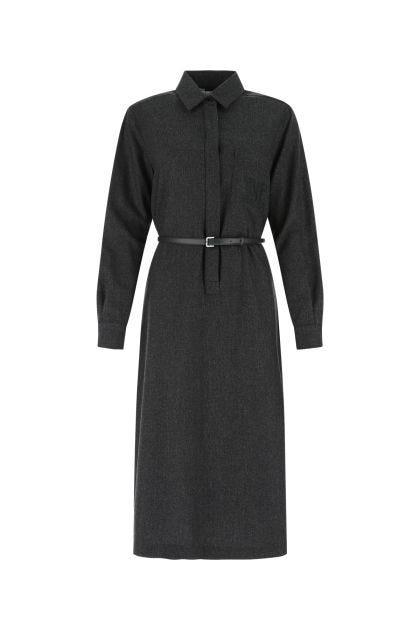 Melange dark grey stretch wool blend Pania shirt dress