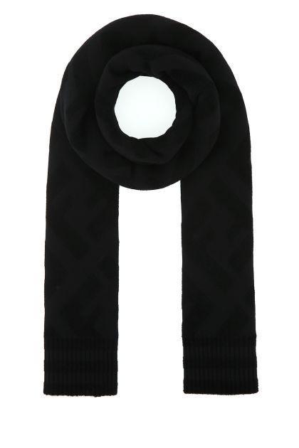 Black stretch wool blend scarf