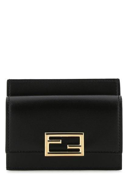 Black leather fendi Way card holder
