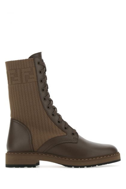 Two-tone fabric and leather Rockoko boots