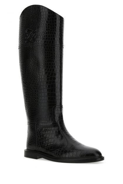 Black leather Karligraphy boots