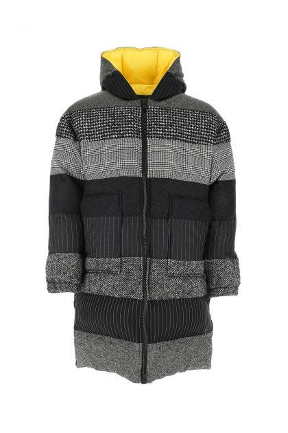 Embroidered wool blend padded jacket