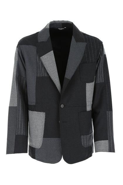 Embroidered stretch wool blend blazer