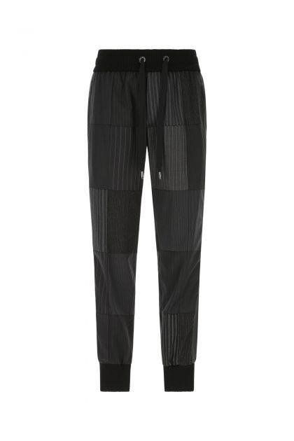 Embroidered stretch wool blend pant