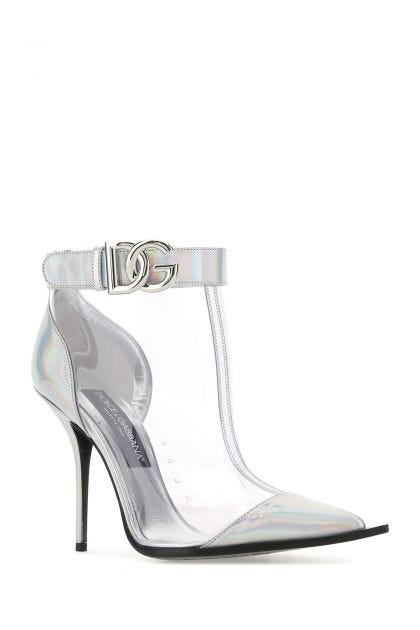 Oleographic leather and PVC ankle boots