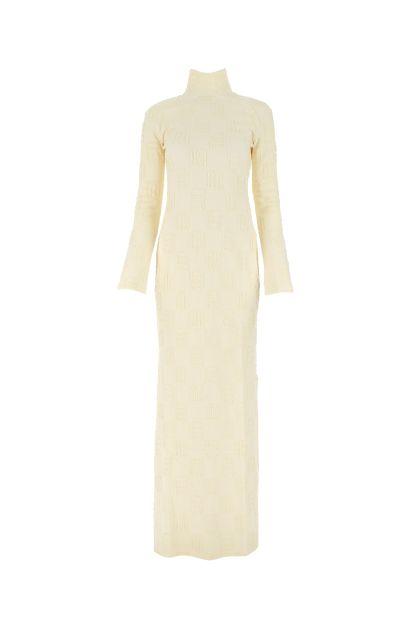 Cream stretch wool blend long dress