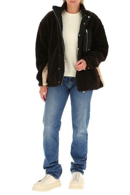 Two-tone wool and polyester Fleece oversize jacket