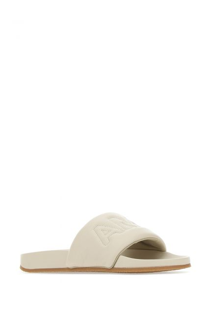 Ivory leather slippers
