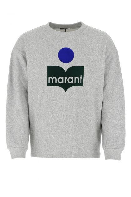 Melange grey cotton blend Menjiri oversize sweater