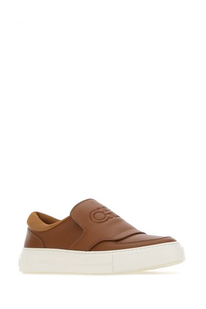 Camel leather slip on