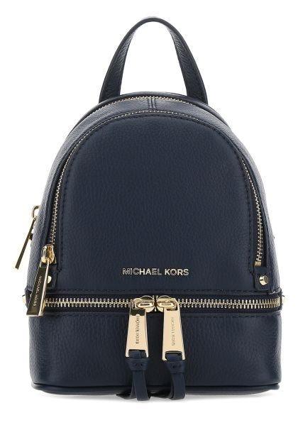Midnight blue leather mini Rhea backpack