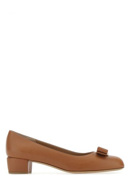 Brown nappa leather pumps