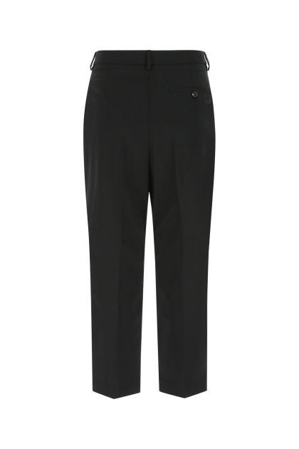 Black stretch light wool pant