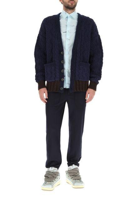 Blue navy nylon blend oversize cardigan