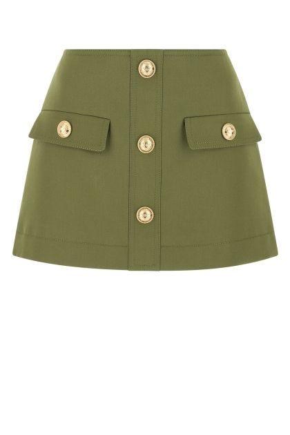 Olive green wool mini skirt