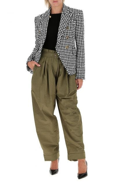 Army green nylon blend pant