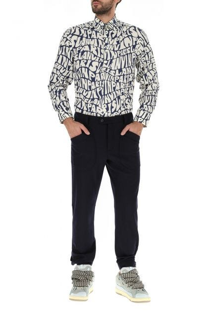 Printed popeline oversize shirt