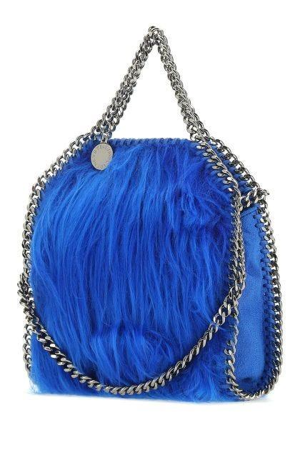 Electric blue shaggy deer and eco fur micro Falabella handbag