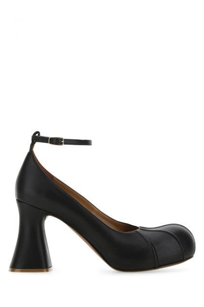 Black synthetic leather Groove pumps