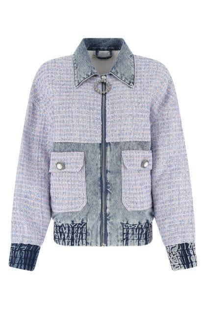Multicolor tweed and denim oversize jacket