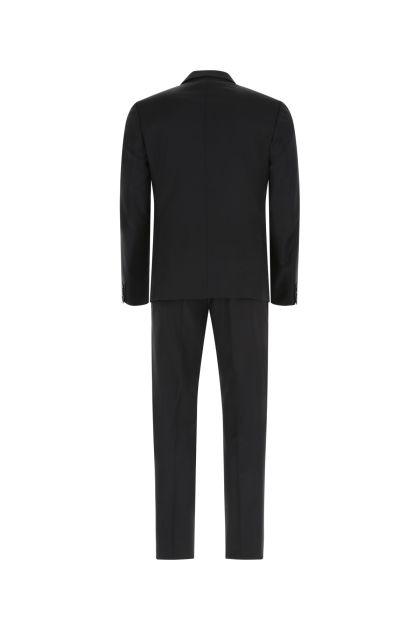 Black stretch wool blend suit