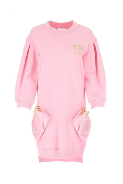 Pink cotton sweatshirt dress