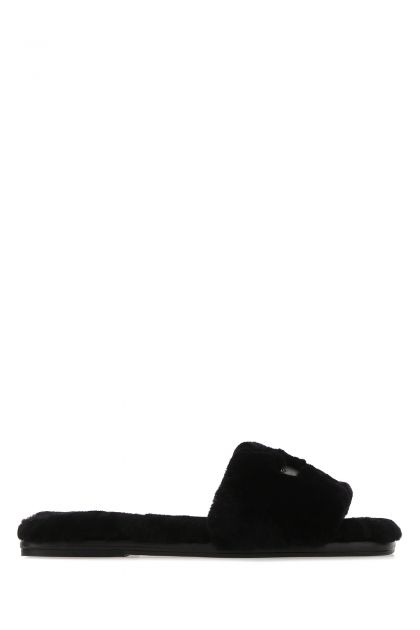 Black shearling Double T slippers
