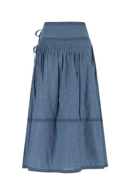 Powder blue cotton blend skirt