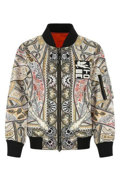 Printed nylon reversible padded jacket
