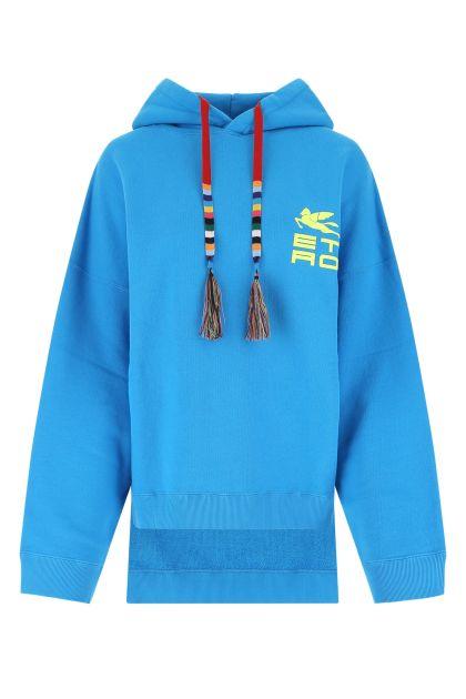 Turquoise cotton oversize sweatshirt