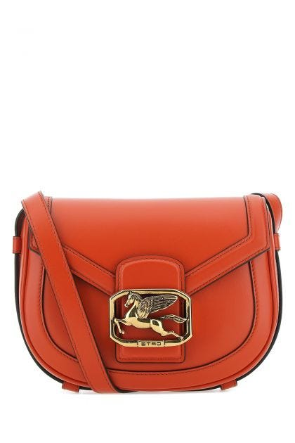 Dark orange leather Pegs crossbody bag